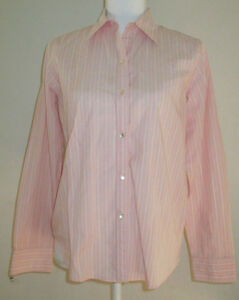Chaps Womens  Long Sleeve Pink / White Striped Button down shirt Size S