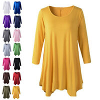 Womens Crew Neck Long Sleeve Long Blouse Ladies Casual Shirt Tops Loose Dress