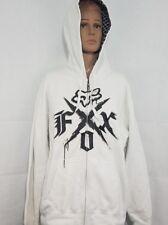 Fox Racing mens hoodie hooded sweatshirt white black Extra Large XL Full Zip