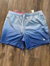 NWT Abercrombie & Fitch Men's Swim Shorts Size XL Blue Ombre