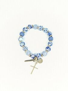 Jilzarah Silver Tone Blue Clay Bead Cross Blessed Charm Stretch Bracelet