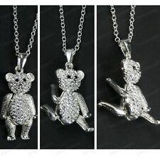 Con Incrustaciones De Cristal 3cm Big Bear Teddy Articulado Plata Rhinestone Collar Largo