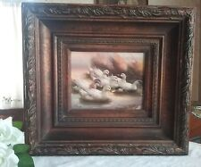 DUCKS ON A POND WONDERFUL FRAMED OIL PAINTING WELL DONE MYSTERY ARTIST 20 X 18""