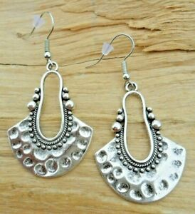 Semi Circle Hammered Antique Silver Effect Beaded Patterned Earrings 3.5cm NEW