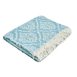 Plaid Tagesdecke BAROCK KINGSIZE petrol Couchdecke Sofa Decke 260x260 cm Cotton