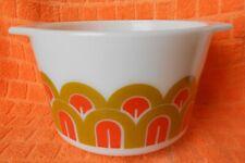 Vintage Pyrex 343 Orange Brown Fish Scales Arches Design 1.5 Quart Mixing Bowl