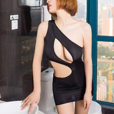 Women Sexy Sheer Mesh Mini Dress One Shoulder Bandage Bodycon Underwear Clubwear