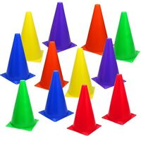 """12 Assorted Color 9"""" Cones Train Training Soccer Football Agility Traffic Marker"""
