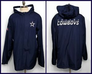 Dallas Cowboys Football On Field Jacket By Reebok Fleece Lined Hooded Size 3XL