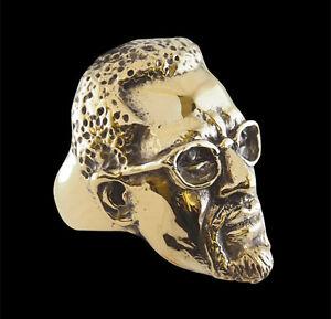 Bronze Malcolm X Ring Custom Sized muslim minister human rights activist R-188b