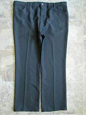 Vtg Wrangler Men's 82Bk Pants 46x32 Western Dress Black Polyester 70's Straight