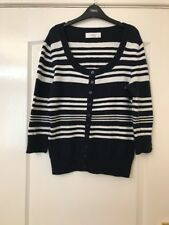 Wallis Size 10 Petite Navy And White Striped Cardigan With 3/4 Length Sleeves