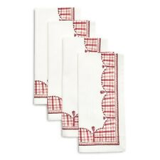 "New ListingSur La Table Gingham Plaid Tassel Napkins- Set of 4- 20"" Square-Nwt"