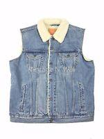 Levis Jeans Men S Light Blue Youngstown Denim Sherpa Trucker Vest Jacket Red Tab