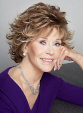 Jane Fonda Short Wavy Layered Synthetic Hair Capless Wig 8 Inches Brown Mixed