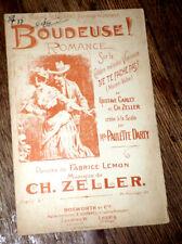 Boudeuse romance créée par Paulette Darty partition pour chant 1894 Ch. Zeller