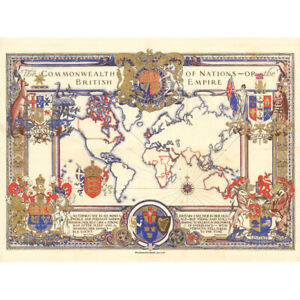 Map Webb 1937 British Empire Commonwealth Pictorial Canvas Wall Art Print Poster
