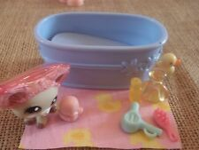 Littlest Pet Shop Lot Cream Chihuahua Brown Eyes Bathtime Shower Accessories V38