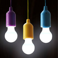 LED Bulb Light On A Rope Reading Lamp 3 AAA Battery Operated Pull Cord Handy HOT