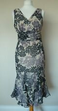 Pretty Ted Baker Cream Black Mauve Floral Silk Flared Hem Dress Size 2 UK 10 VGC