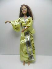 Doll Clothes Japan Kimono Dress Rope Soft Yellow Satin Will fit Barbie Usa Selle