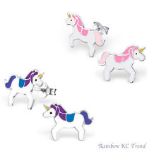 925 Sterling Silver Unicorn Purple Pink Girls Kids Earrings Stud Jewellery Party