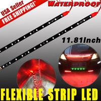"2x Red 12"" DIY Flexible LED Light Strip Bar for Car Motor Marine Boat Decor 12V"