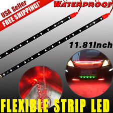 "2x Red 12"" DIY Flexible LED Light Strip Bar for Car Motor Marine Boat Decor 12V"