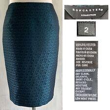 DONCASTER COLLECTION Women's sz 2 Black Teal Geo Satin Jacquard Pencil Skirt EUC