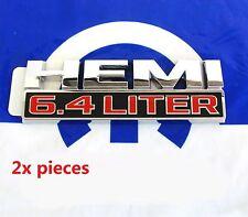 2x OEM Chrome 6.4 LITER HEMI Emblems Badge 6.4L Dodge Ram 2500 MOPAR L Glossy