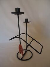 Black Metal Wine Bottle & 2 Candle Stick Holder Top Quality Tableware Enigma
