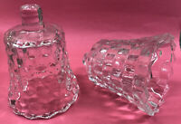 Vintage 2  Homco Clear Glass Cubed Peg Votive Candle Holder EUC 4""