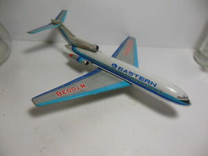 """12"""" TIN Eastern Airlines Boeing 727 Jet Airplane N7003B Friction Plane Japan Toy"""