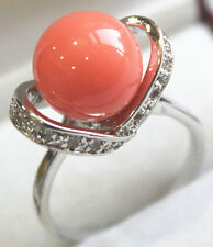 12mm white black pink green blue shell pearl/ jade/ tiger eye stone 18KGP ring