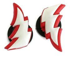 Lightning Bolt Authentic Jibbitz Crocs Shoe Charm Decoration Red White Set of 2