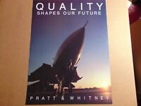 "POSTER Pratt & Whitney QUALITY SHAPES OUR FUTURE JET PLANE 20""x15"""