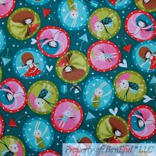 New listing BonEful Fabric Cotton Quilt Green White Red Fairy Bunny Gnome Heart Dot 01 Scrap