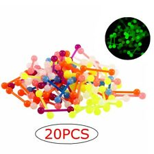 20PCS Glow In The Dark Flexible UV Acrylic Straight Bar Tongue Rings 14G Mixed
