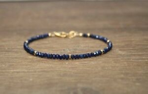 Natural Lapis Lazuli Faceted Gemstone Beaded Bracelet 14k Gold Over Bead & Clasp