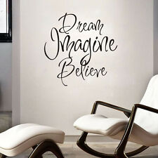 Dream Imagine Believe Art Wall Decals Character Creative Home Decor Vinyl