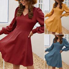 Women's Plain V-Neck Ruffle Long Sleeve Swing Dress Party Casual Mini Sundress
