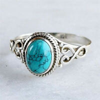 Turquoise Vintage Women Men Charm 925 Silver Ring Wedding Engagement Size 6-10