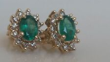 0.70 Ct Diamonds & 1.70 Ct  Natural Emeralds 14k Gold Earrings