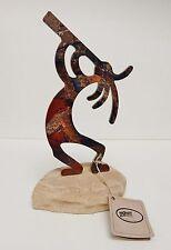 """Kokopelli Flute Lazart Collector Series Sandstone Rock Mount Metal Art Figure 9"""""""