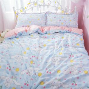 Cinnamoroll Cotton Bedding Sheet Quilt Cover Duvet Covers Sheet Pillow Case 3PCS
