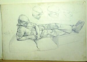 Attributed Robin Ball Original Drawing British Worker Relining Male Man 20th C.