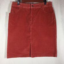 St Johns Bay Womens Skirt Sz 12 Burnt Orange Courduroy Stretch Cotton Spandex