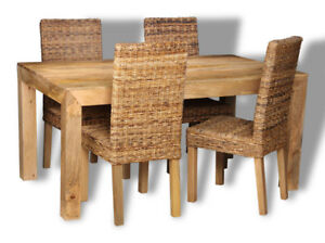 DINING ROOM FURNITURE DAKOTA LIGHT 160CM TABLE AND 4 RATTAN CHAIRS (30L&4BL)