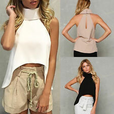 Ladies Cut Away Sleeveless Blouse Crop Top Fashion Summer Turtle Neck Vest Shirt