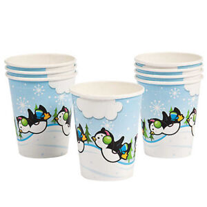 PENGUIN PARTY Disposable Cups Winter Penguins Paper Drinking Cup Pack of 8